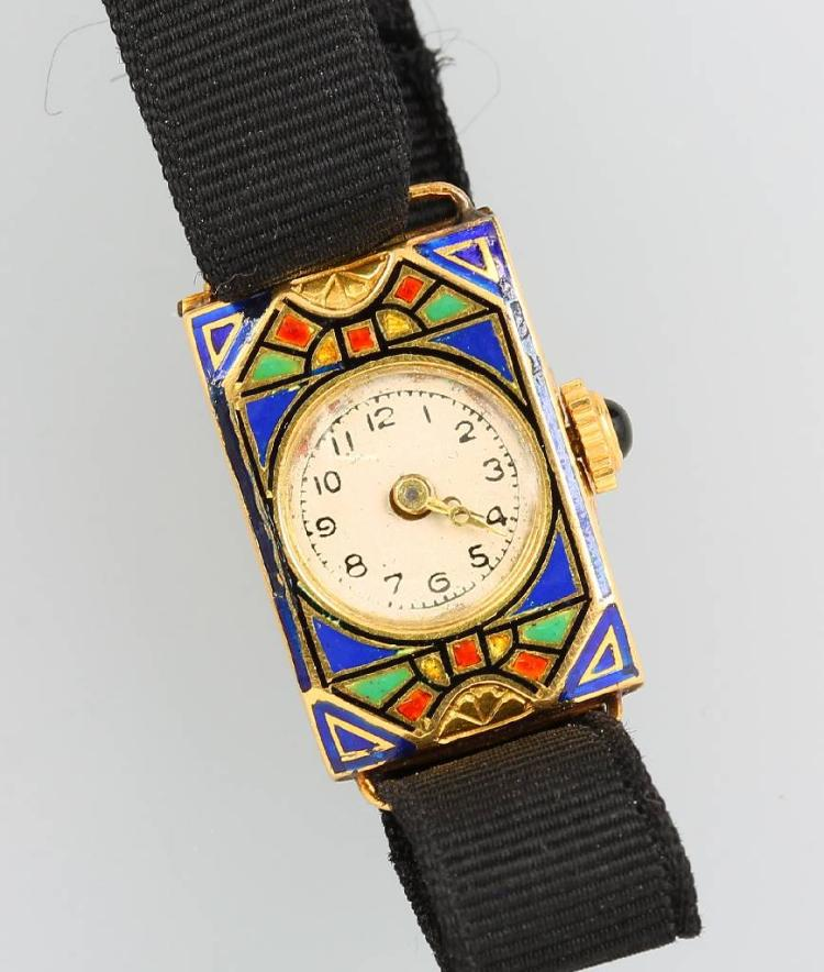 18 kt ladies' gold wristwatch with enamel