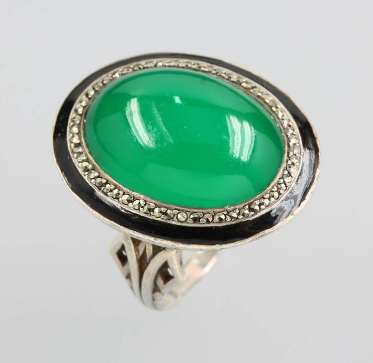 Ring with chrysoprase, enamel and marcasites, german approx. 1900s