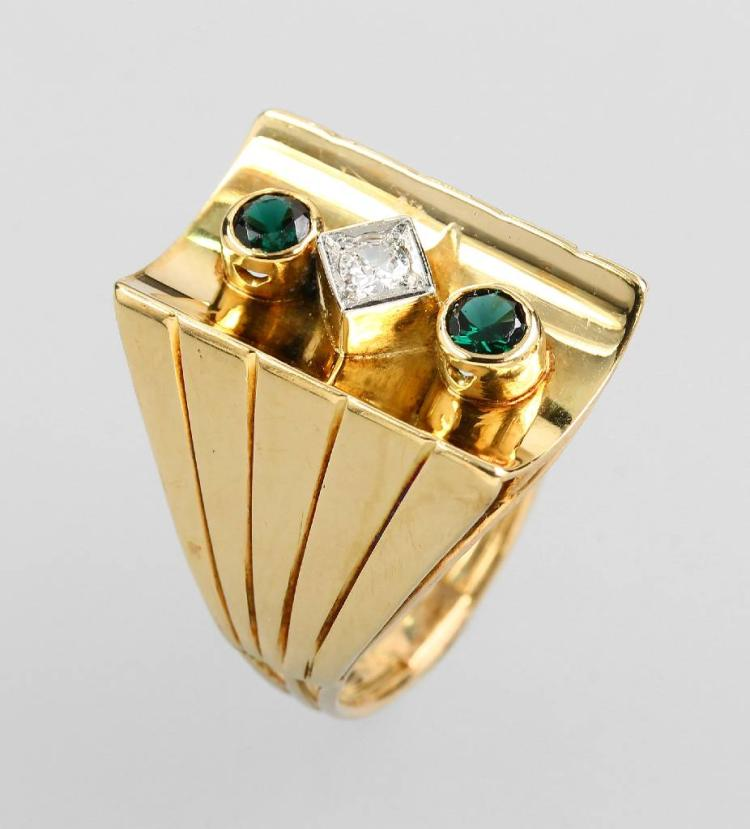 14 kt gold ring with tourmalines and diamonds