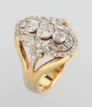 Art-Deco ring with diamonds