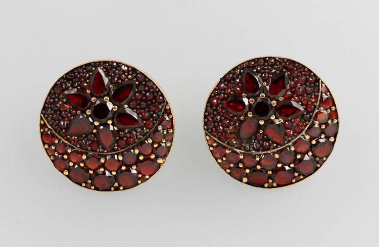 Pair of earrings with garnets, Bohemia approx.1900s