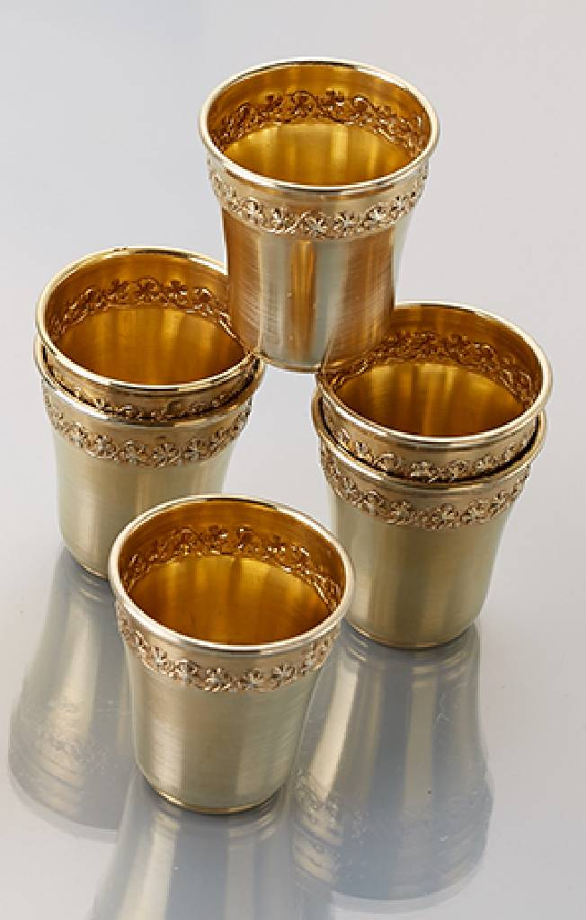 6 schnapps beaker, silver 950 gilded, France approx. 1900