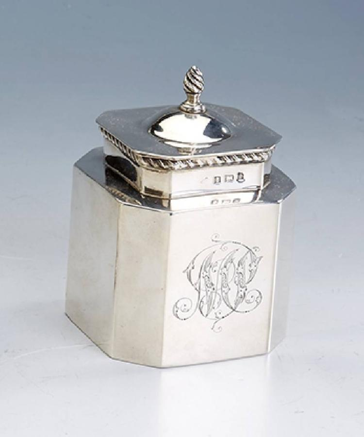 Tea caddy, England, Birmingham 1902, silver 925