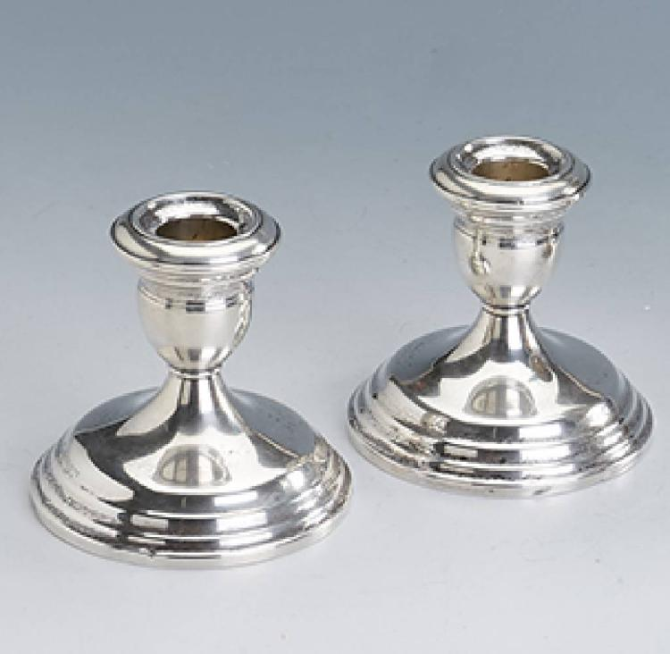 Pair of candleholder, Sterling silver, USA