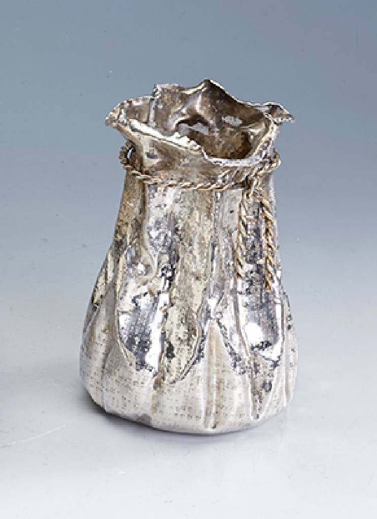Vase in the form of a sac, Italy, silver 900
