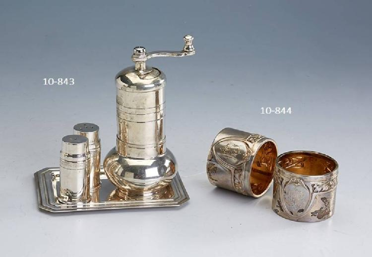 2 napkin rings, german approx. 1910, 800 silver