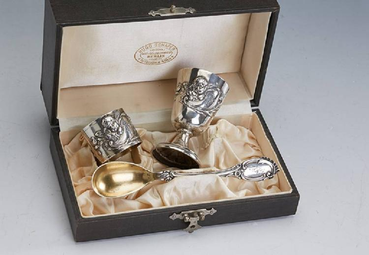 Baptism set, german approx. 1900, 800 silver