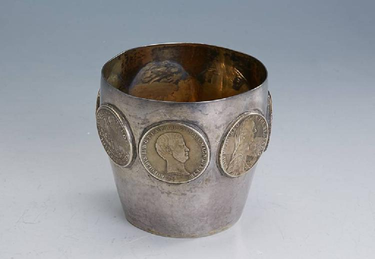Silverbeaker with coins, german approx. 1900
