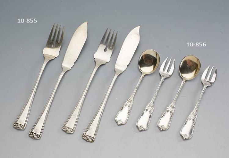6 oyster forks and 6 sauce laddles, Belgium, 800 silver