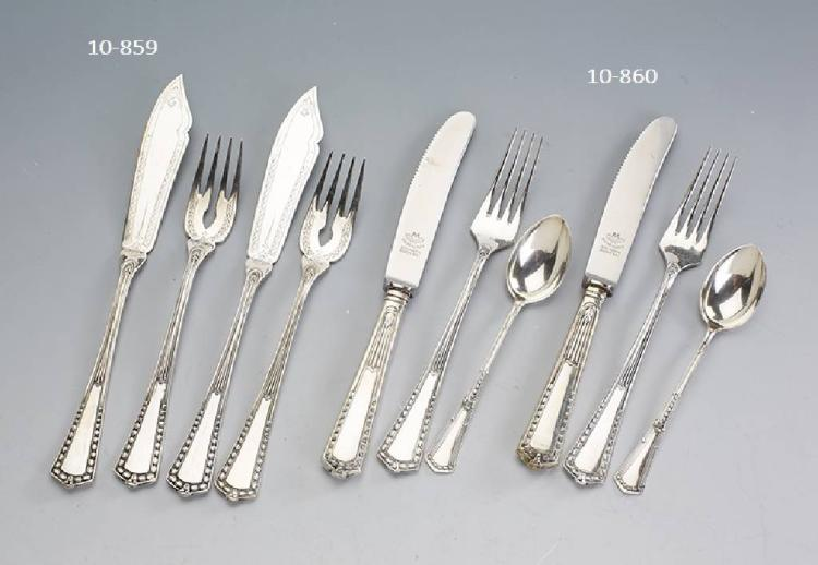 12-piece fish table service, 800 silver