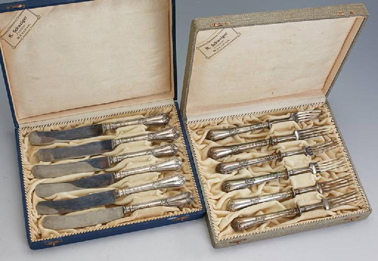 Breakfast cutlery for 6 persons, 800 silver