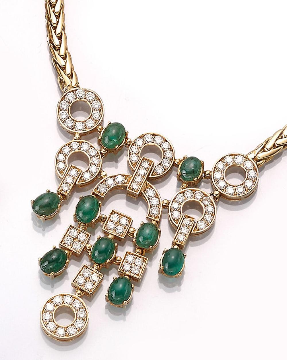18 kt gold necklace with emeralds and brilliants