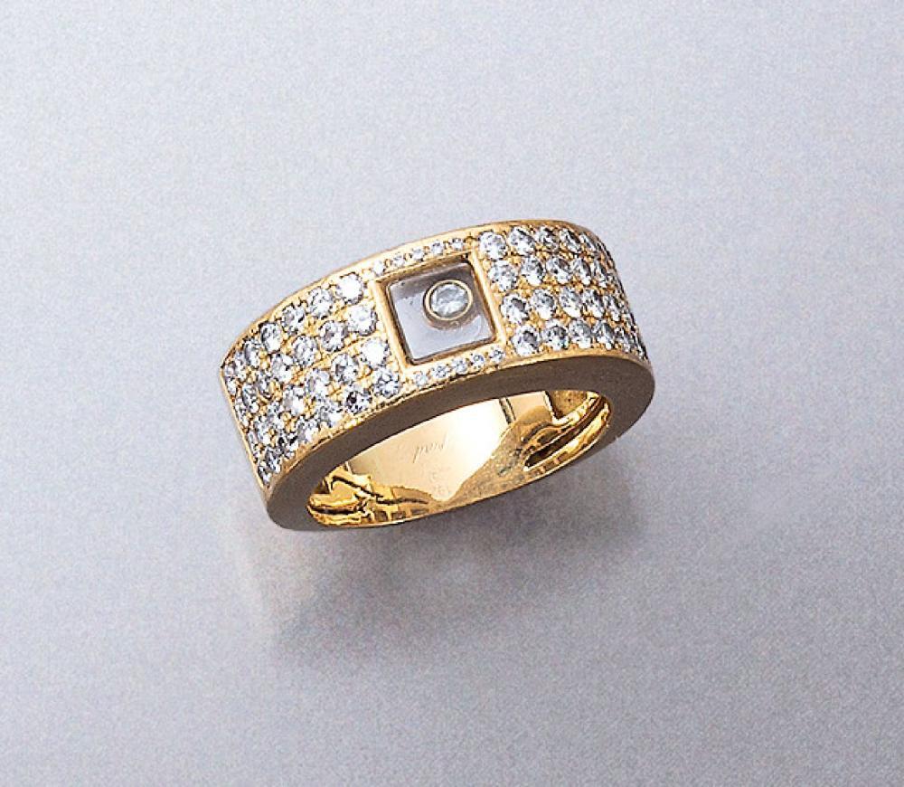 18 kt gold CHOPARD ring with diamonds, Happy Diamonds