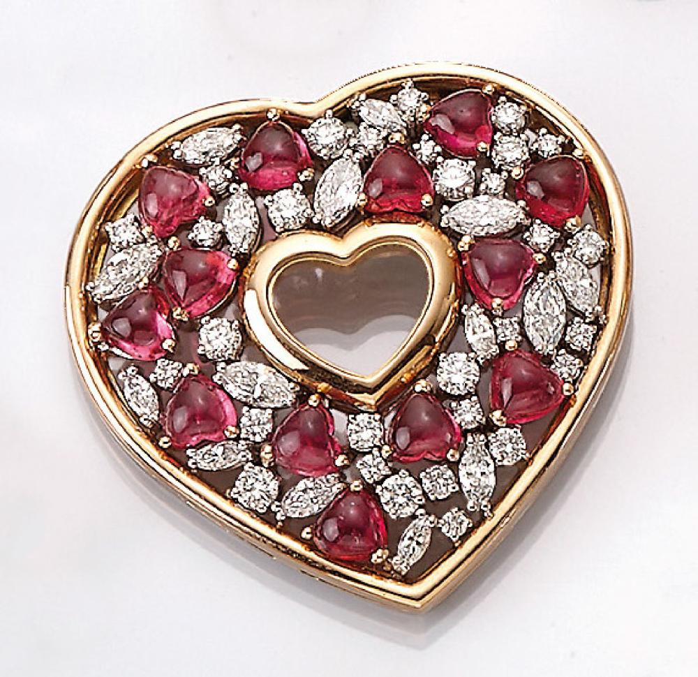 18 kt gold CHOPARD heartpendant with diamonds and tourmalines