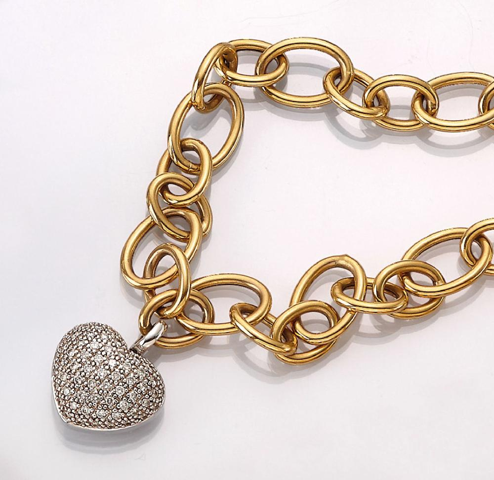 14 kt gold heartclippendant with brilliants