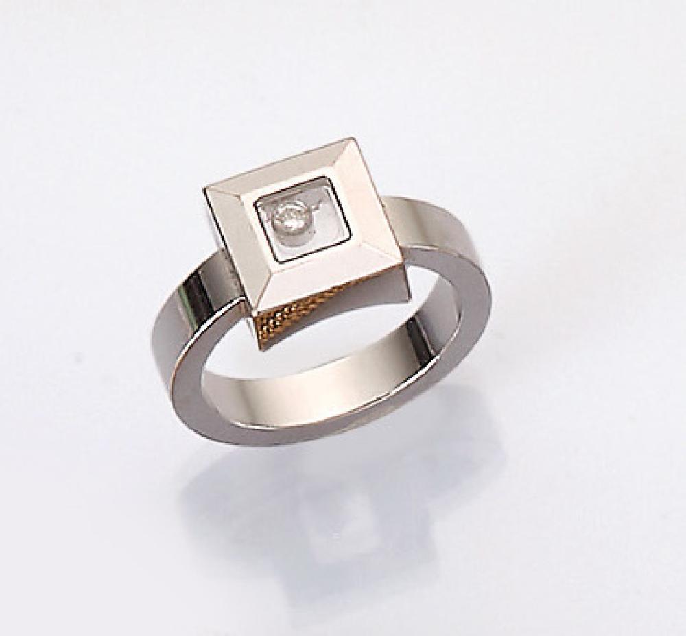 18 kt gold CHOPARD ring with diamond 'Happy Diamonds'