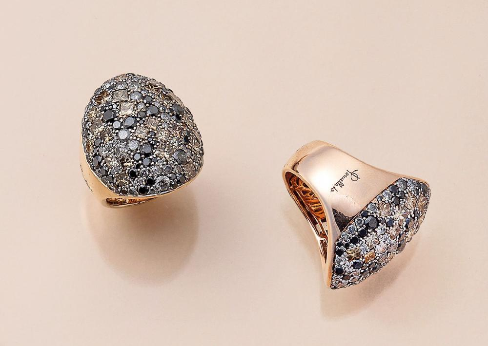 18 kt gold Pomellato ring with diamonds