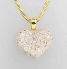 18 kt gold heartpendant with brilliants