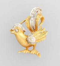 14 kt gold brooch 'cock' with diamonds