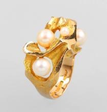 LAPPONIA 14 kt gold ring with cultured pearls
