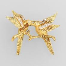 14 kt gold brooch 'birds' with diamonds