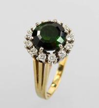 14 kt gold ring with tourmaline and brilliants