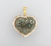14 kt gold heartpendant with brilliants