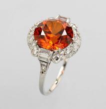 Platinum ring with zircon and diamonds
