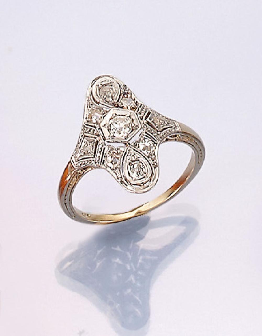 14 kt gold Art-Deco-Marquise ring with diamonds