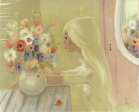 IGOR PANTUHOFF (Polish b. 1911) Girl with Vase of