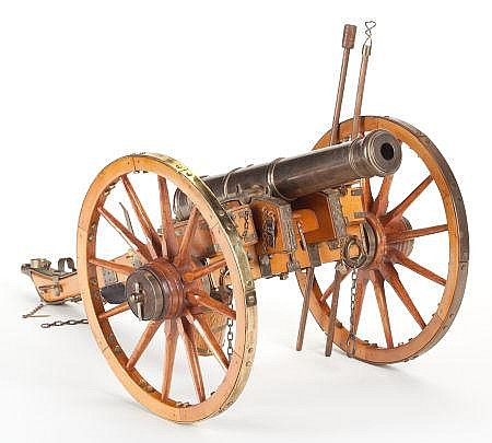 WOOD AND METAL MODEL CANNON Modern 11-1/2 x 12 x 24 inc