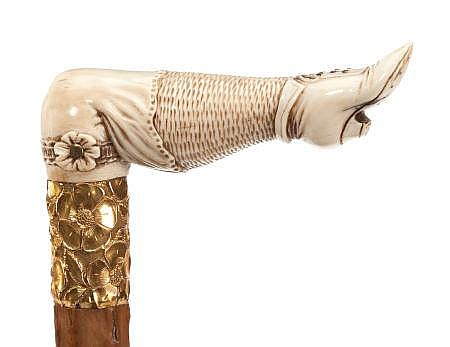 CARVED IVORY AND WOOD VICTORIAN LADY'S LEG CANE Circa 1