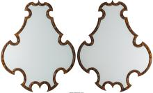 A Pair of Shield-Form Faux Tortoiseshell Mirrors, 20th century 47-1/2 inches hig