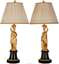 A Pair of French Gilt Bronze and Marble Figural Lamps a