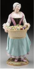 A Meissen Painted Porcelain Figure: The Fruit Picker, Meissen, Germany, 19th cen