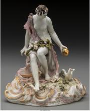 A KPM Partial Gilt Porcelain Figure of Aphrodite, Berlin, Germany, 19th century