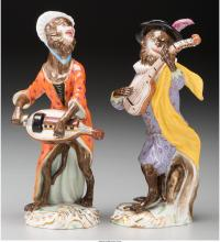 Two Meissen Painted Porcelain Monkey Band Members, Meis