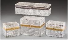 Four Continental Baccarat-Style Cut-Glass Vanity Boxes,