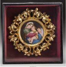 A Framed Continental Painted Porcelain Plaque, after Ra