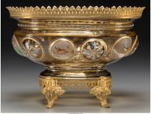 A Moser Enameled Glass and Gilt Bronze-Mounted Centerpi