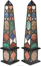 A Large Pair of Specimen Marble Obelisks, late 20th cen