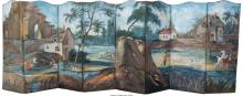 A Large Continental Painted Canvas Eight-Panel Floor Sc