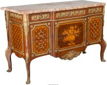 A French Louis XVI-Style Mahogany and Kingwood Marquetr
