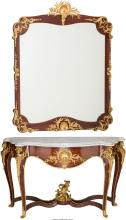 A Louis XVI-Style Gilt Bronze-Mounted Inlaid Mahogany M