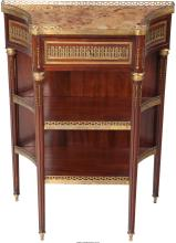 A Louis XVI-Style Mahogany, Gilt Bronze and Marble Cons