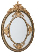 A Monumental Louis XVI-Style Painted and Partial Gilt Oval Mirror, 20th century