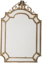 A Baroque-Style Gilt Bronze Mirror, late 20th century 40-3/4 inches high x 27-1/