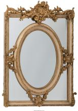 A Pair of Louis XVI-Style Painted and Gilt Mirrors, late 19th-early 20th century