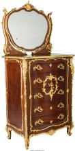 A Louis XVI-Style Mahogany and Gilt-Bronze Mounted Dresser & Mirror in the manne