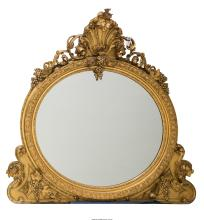 A Large Rococo Revival Carved and Giltwood Overmantle Mirror, late 19th century